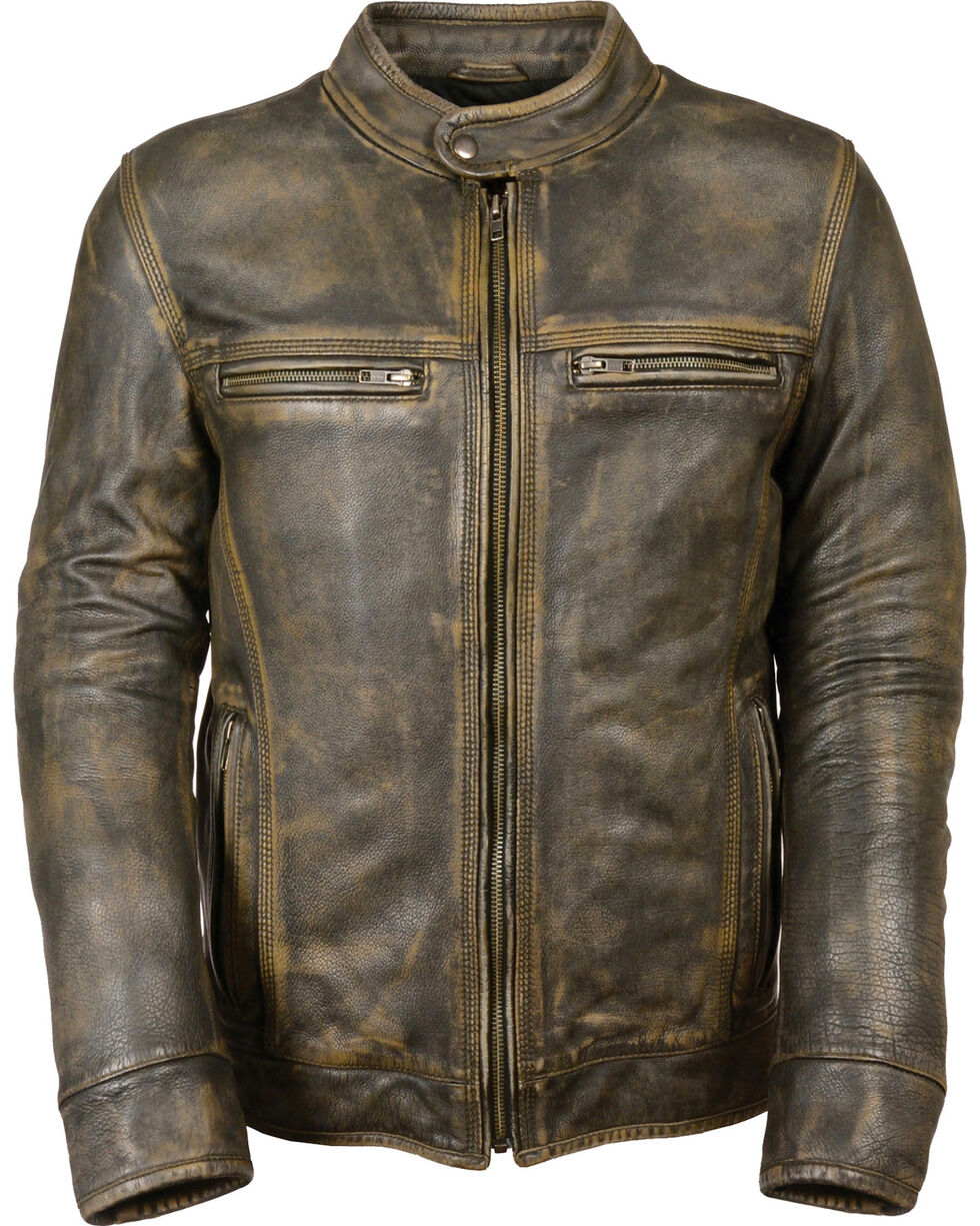 Milwaukee Leather Men's Brown Distressed Scooter Jacket w/ Venting - Big - 3X, Black/tan, hi-res