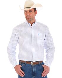 Wrangler George Strait Men's Blue and White Plaid Shirt, , hi-res