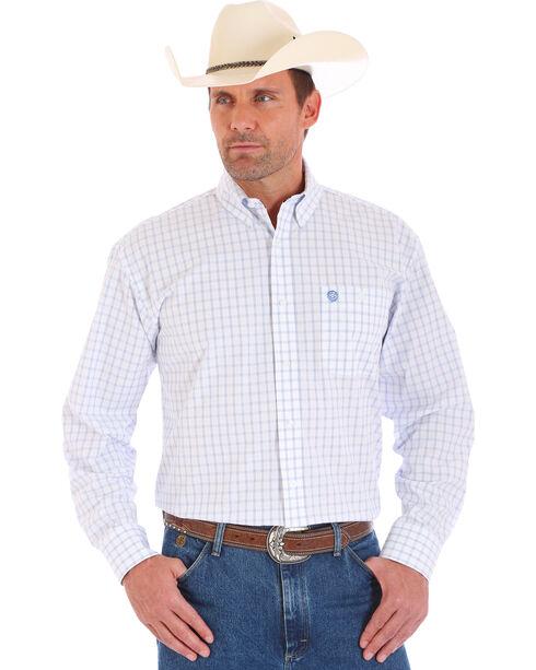 Wrangler George Strait Men's Plaid Long Sleeve Shirt, White, hi-res
