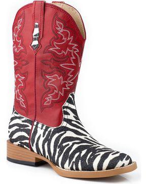 Roper Kid's Zebra Western Boots, Zebra, hi-res