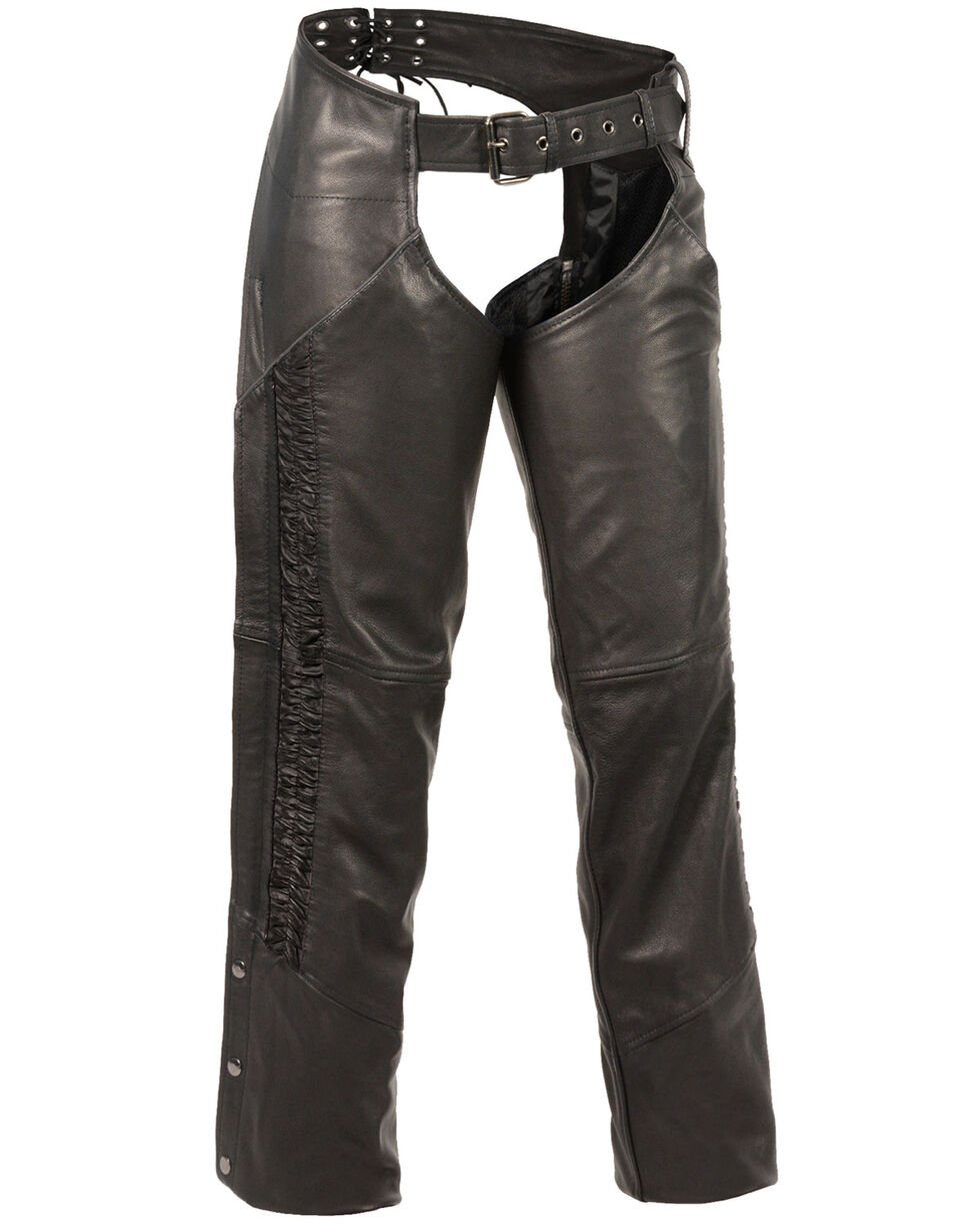 Milwaukee Leather Women's Lightweight Low Rise Crinkled Striping Chaps , Black, hi-res