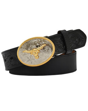 3D Kid's Floral and Solid Leather Belt, Black, hi-res