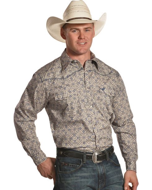 Cowboy Hardware Men's Beige Printed Long Sleeve Western Shirt, Beige/khaki, hi-res