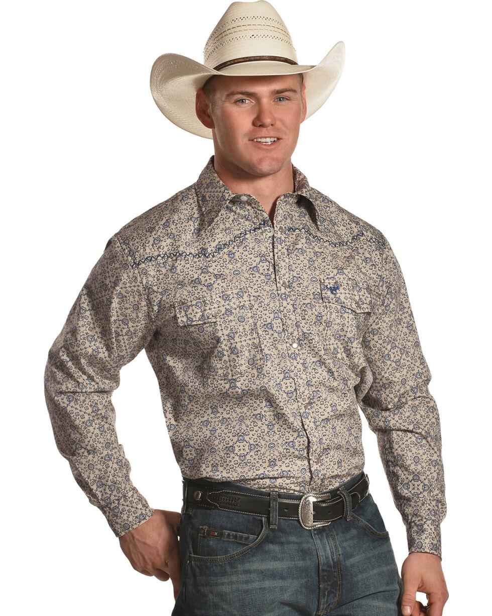 Cowboy Hardware Men's Beige Scroll Printed Long Sleeve Western Shirt, Beige/khaki, hi-res