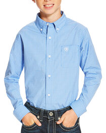 Ariat Boys' Blue Oakville Long Sleeve Shirt , Blue, hi-res