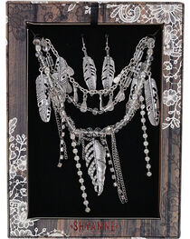 Shyanne® Women's Sparkling Feathers Jewelry Set , , hi-res