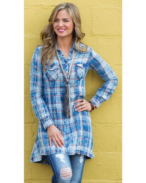 Ryan Michael Women's Superstition Mountain Plaid Tunic , Indigo, hi-res