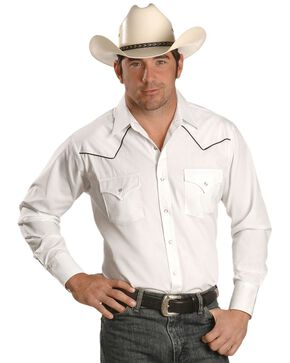 Ely Cattleman Men's Long Sleeve Solid Contrast Western Shirt, White, hi-res