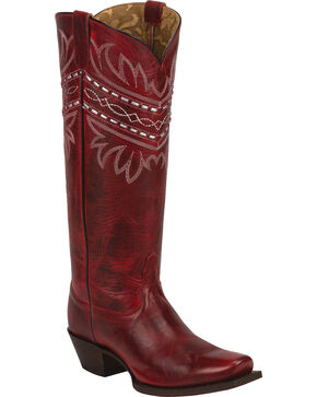 Tony Lama Women's Embroidered Vaquero Western Boots, Red, hi-res