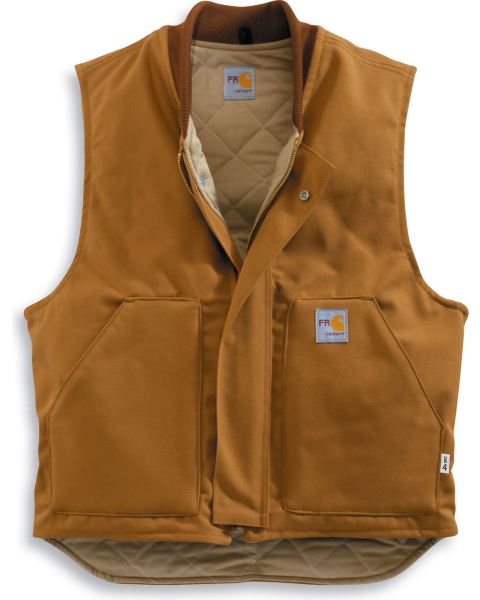 Carhartt Men's Flame-Resistant Duck Vest, Brown, hi-res
