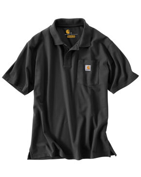 Carhartt Men's Contractor's Work Pocket Pique Polo, Black, hi-res