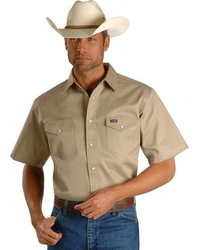 Wrangler Men's Cowboy Cut Short Sleeve Shirt, Khaki, hi-res
