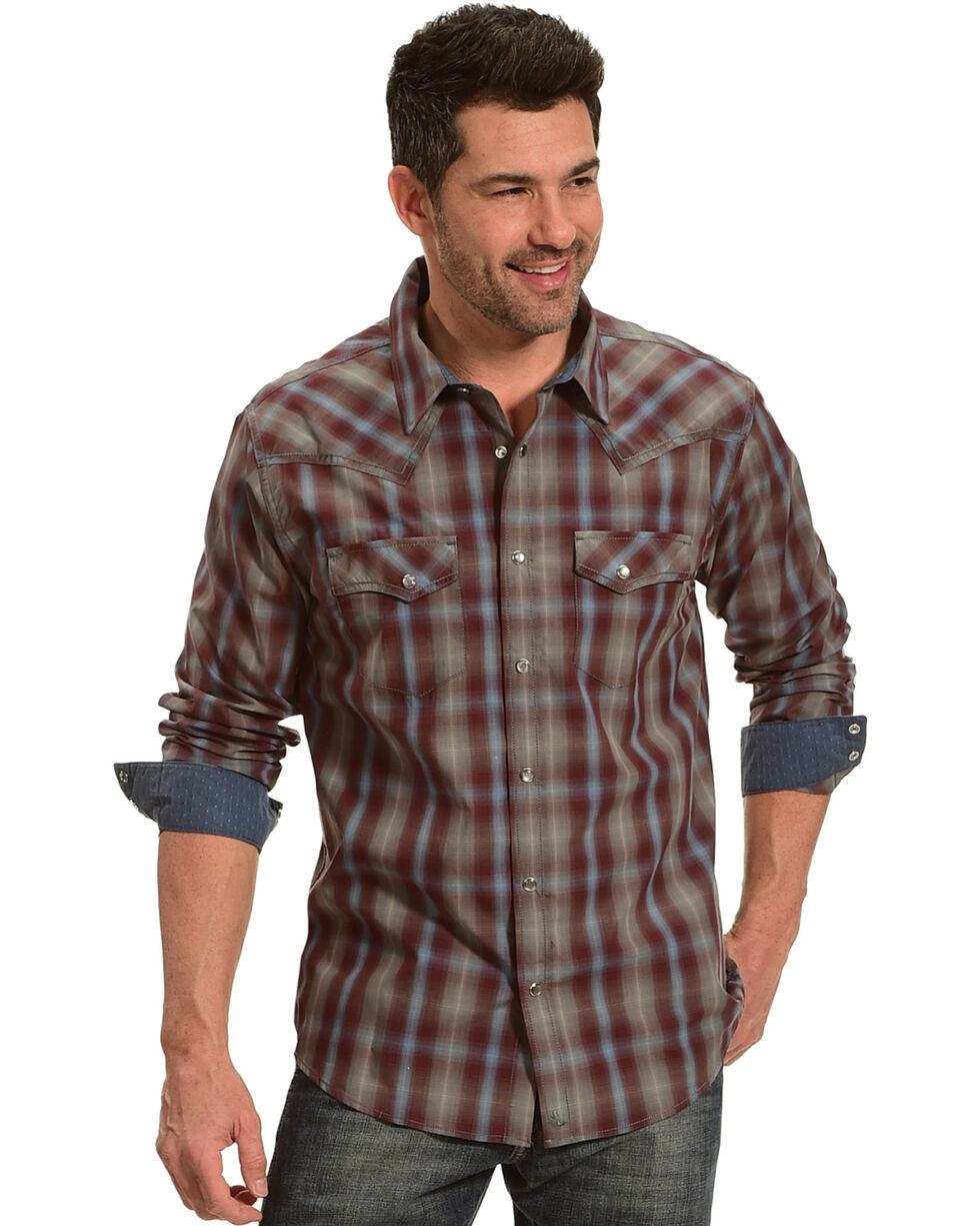 Cody James Men's Plaid Belton Long Sleeve Shirt, Maroon, hi-res