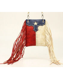 Blazin Roxx Women's Texas Flag Fringe Crossbody Bag, , hi-res