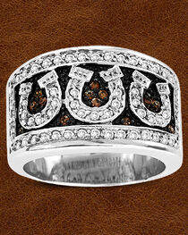 Kelly Herd Sterling Silver Pave Horseshoe Ring, , hi-res