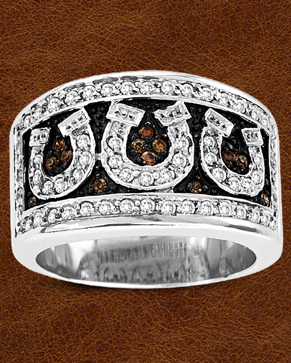 Kelly Herd Sterling Silver Pave Horseshoe Ring, Silver, hi-res