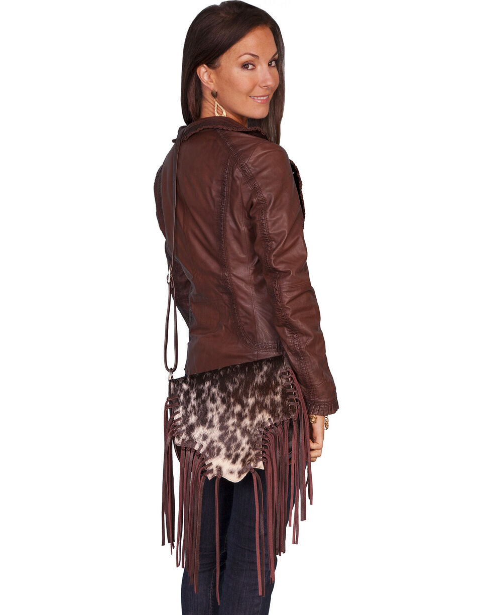 Scully Hair-on-Hide Calf Fringe Shoulder Bag, Animal Prt, hi-res