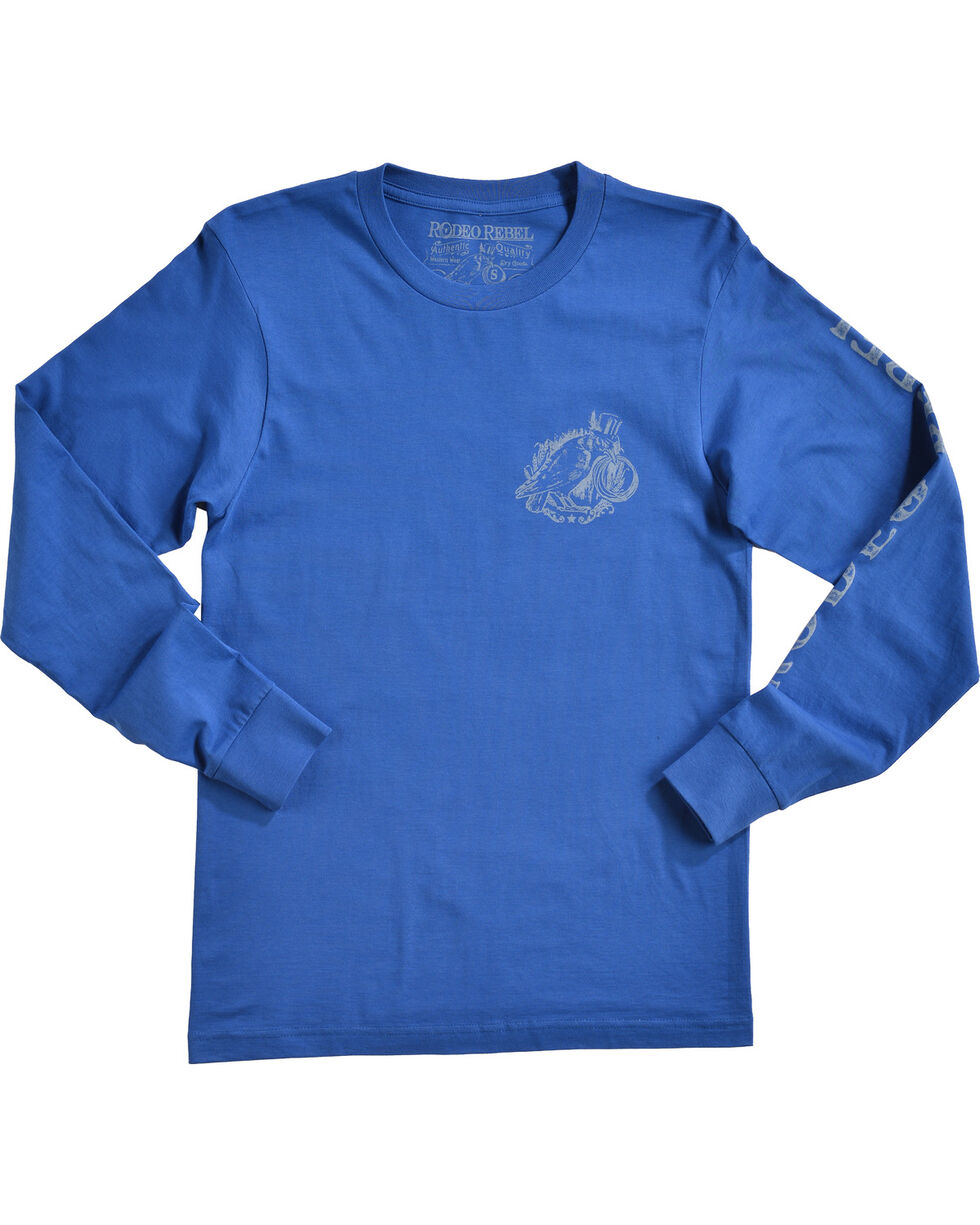 Rodeo Rebel Men's Logo Crew Neck Long Sleeve T-Shirt, Royal Blue, hi-res