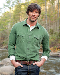 Ryan Michael Men's Green Textured Stripe Shirt , , hi-res