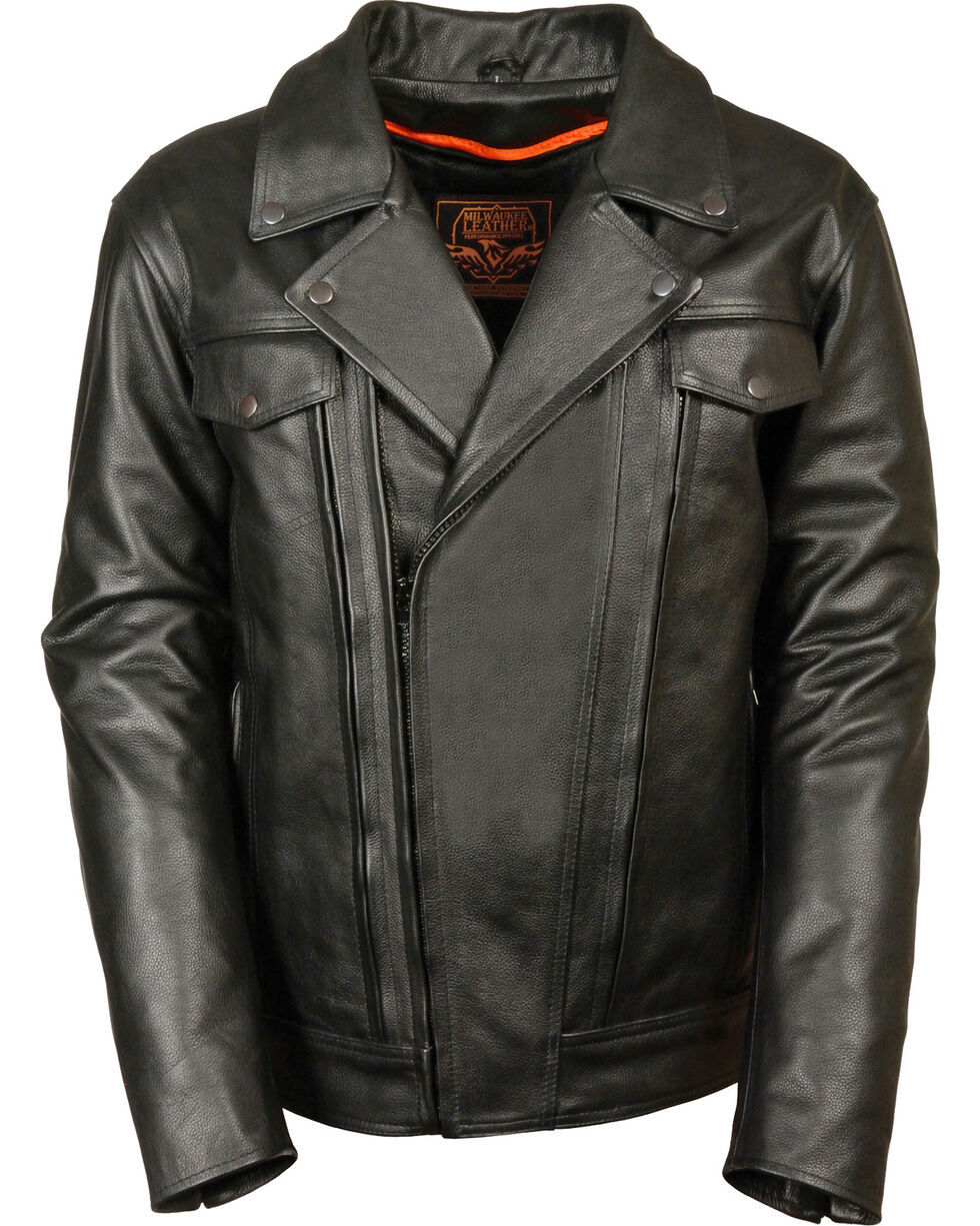 Milwaukee Leather Men's Utility Vented Cruiser Jacket - Tall 3X, Black, hi-res