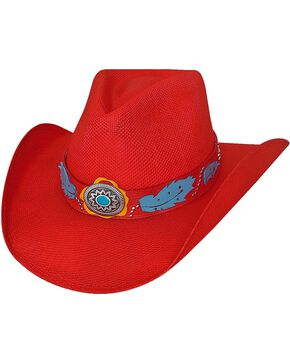 Bullhide Women's Wild One Straw Hat, Red, hi-res