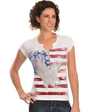 Liberty Wear American Flag & Eagle Embellished Tee, White, hi-res