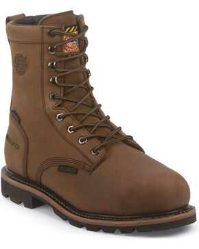 Justin Men's Wyoming Work Boots, Brown, hi-res