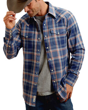 Stetson Men's Western Long Sleeve Snap Shirt, Blue, hi-res