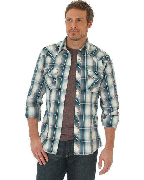 Wrangler Men's Fashion Long Sleeve Plaid Shirt , Beige/khaki, hi-res