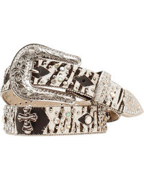 Nocona Zebra Print Hair on Hide Cross Concho Studded Leather Belt, , hi-res