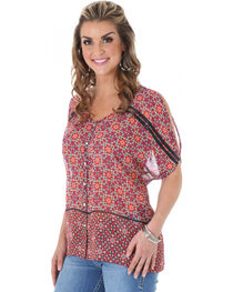 Wrangler Rock 47 Women's Cold Shoulder Short Sleeve Button Top , Melon, hi-res