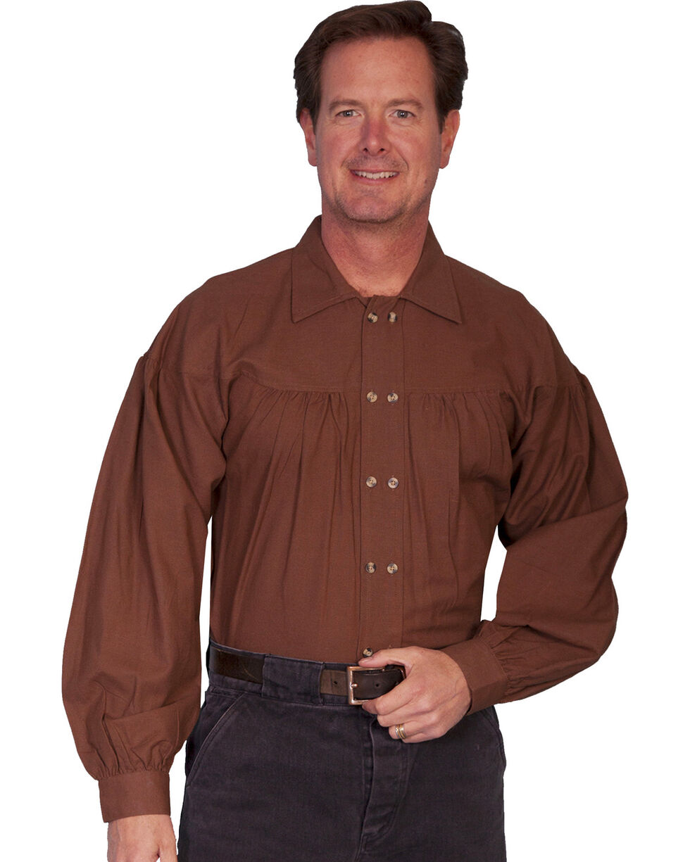 Rangewear by Scully Old West Style Double Button Placket Shirt - Big Sizes (3XL, Chocolate, hi-res