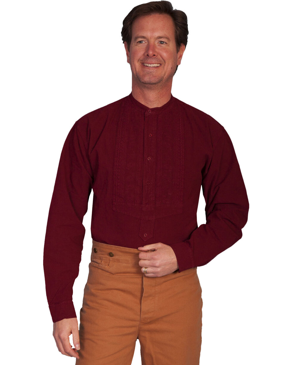 Rangewear by Scully Paisley Inset Bib Shirt - Big and Tall, Burgundy, hi-res