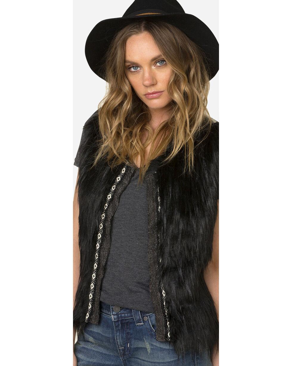 Miss Me Women's Faux Fur Sweater Vest, Black, hi-res