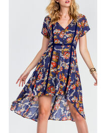 Miss Me Women's Navy Floral Short Sleeve Dress, Navy, hi-res