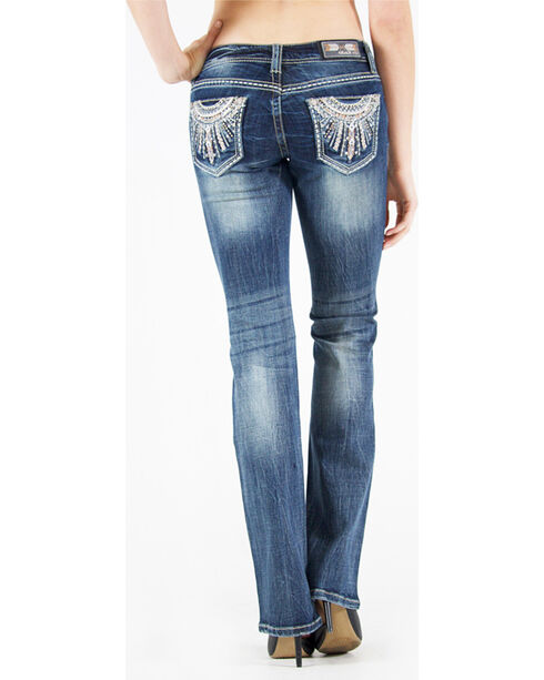 Grace in LA Women's Low Rise Embellished Pocket Jeans - Boot Cut, Indigo, hi-res