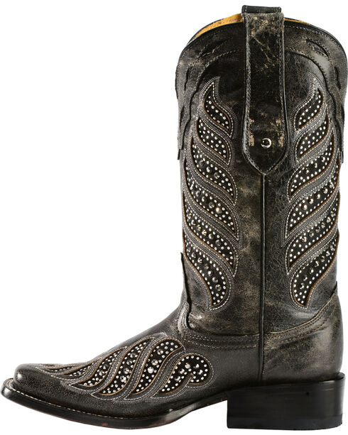 "Corral Women's 11"" Crystal Inlay Square Toe Boots, Black, hi-res"