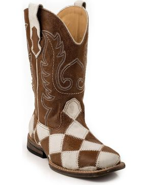 Roper Kid's Patchwork Square Toe Western Boots, Brown, hi-res