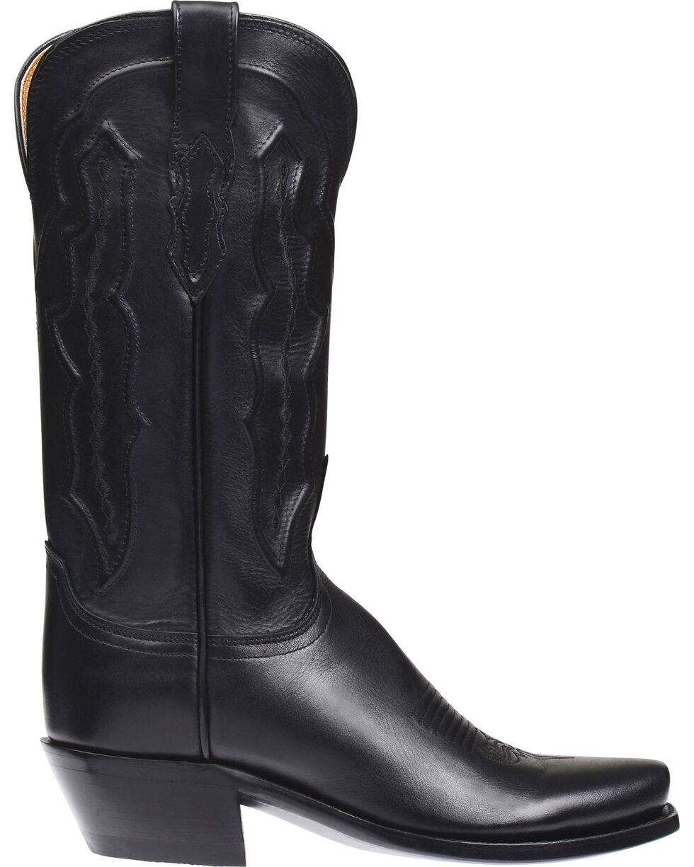 Lucchese Women's Grace Embossed Square Toe Western Boots, Black, hi-res