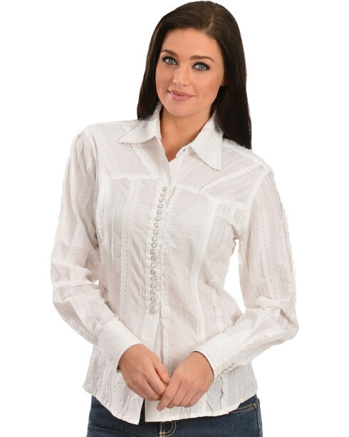 Scully Women's Lace Western Shirt, White, hi-res