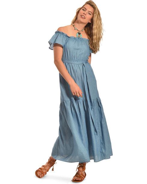 Polagram Women's Off The Shoulder Denim Ruffle Dress , Indigo, hi-res