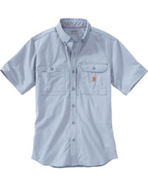Carhartt Men's Light Blue Force Ridgefield Short Sleeve Solid Shirt - Big and Tall, , hi-res