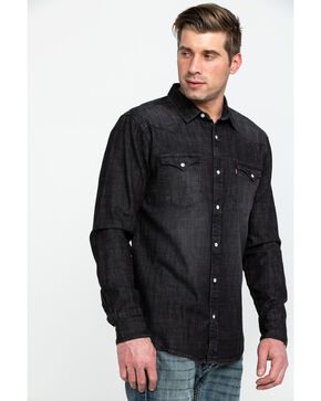 Levi's Men's Smoke Denim Long Sleeve Western Shirt , Black, hi-res
