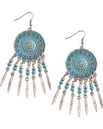 Shyanne Women's Silver and Turquoise Concho Chandelier , , hi-res