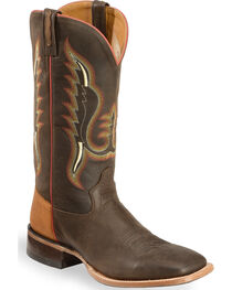 Old West Men's Light Brown and Red Cowboy Boots - Square Toe , , hi-res