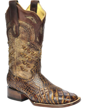 Corral Women's Alligator Exotic Boots, Honey, hi-res