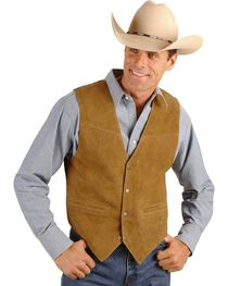 Scully Men's Boar Suede Snap Front Vest, Brown, hi-res