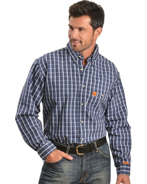 Wrangler RIGGS Workwear Men's Flame Resistant Long Sleeve Shirt, Blue, hi-res