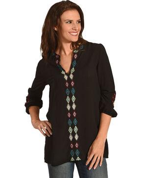 Angel Premium Women's Embroidered Rosa Top, Black, hi-res