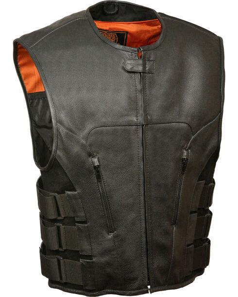 Milwaukee Leather Men's SWAT Style Zipper Front Vest, Black, hi-res